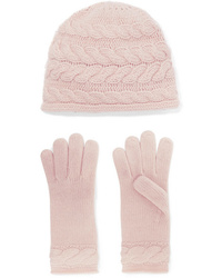Portolano Cable Knit Cashmere Beanie And Gloves Set