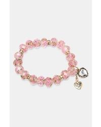 Betsey Johnson Beaded Charm Stretch Bracelet Pink Multi Gold