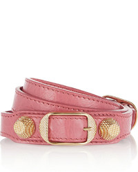 Balenciaga Giant Triple Tour Textured Leather And Gold Tone Bracelet Pink