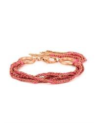 Carolina Bucci Silk Pink Gold Five Strand Lucky Bracelet