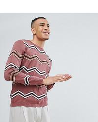 ASOS DESIGN Asos Tall Jacquard Knit Jumper With Chevron Stripes In Dark Pink