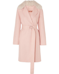 Yves Salomon Belted Shearling Trimmed Wool And Cotton Blend Coat