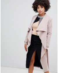 Missguided Waterfall Coat In Camel