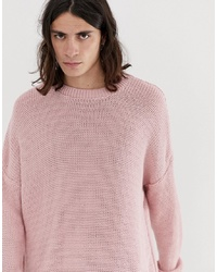 ASOS DESIGN Oversized Textured Knit Jumper In Pink