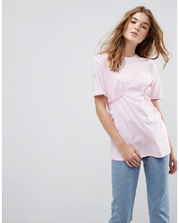 ASOS DESIGN Asos T Shirt With Shirred Waist And Mini Lace Ruffle
