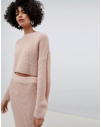 ASOS DESIGN Co Ord Cropped Oversized Jumper In Rib