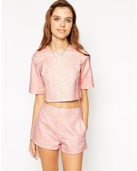 Motel Alya Crop Top In Pink Daisy Jacquard