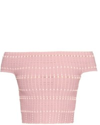 Alexander McQueen Off The Shoulder Knitted Crop Top