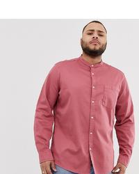 ASOS DESIGN Stretch Regular Fit Denim Shirt In Pink With Grandad Collar