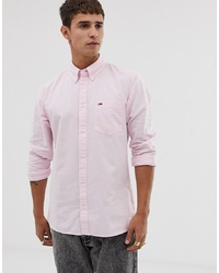 Tommy Jeans Classic Oxford Shirt With Pique Flag Logo In Pink