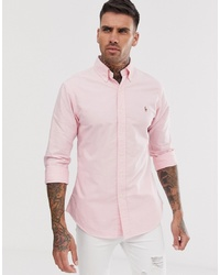 Polo Ralph Lauren Player Logo Slim Fit Oxford Shirt In Pink