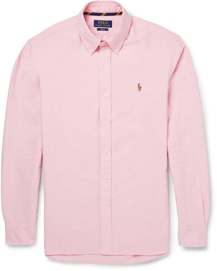 ... Pink Dress Shirts Polo Ralph Lauren Slim Fit Button Down Collar Cotton  Oxford Shirt ... f020f7ec4da6e