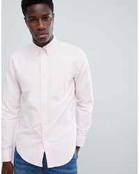 Abercrombie & Fitch Slim Fit Icon Logo Oxford Shirt In Pink