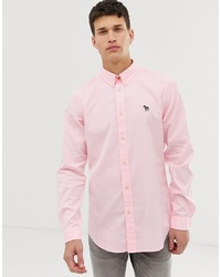 PS Paul Smith Tailored Fit Zebra Oxford Shirt In Pink