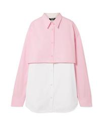 Calvin Klein 205W39nyc Two Tone Layered Cotton Poplin Shirt