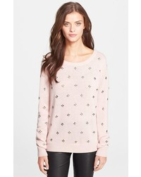 Pink Embellished Crew-neck Sweater