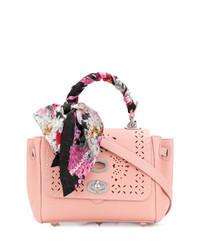 Pink Embellished Leather Satchel Bag