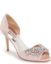 Pink Embellished Satin Pumps