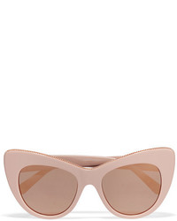 Stella McCartney Cat Eye Chain Embellished Acetate Mirrored Sunglasses Antique Rose