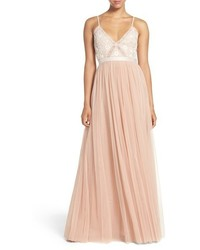 Pink Embroidered Evening Dress