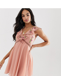 ASOS DESIGN Mini Dress With Detail And Embroidery