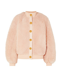Pink Fleece Bomber Jacket