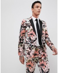 ASOS Edition Skinny Tuxedo Suit Jacket In Pink Floral Sa Print