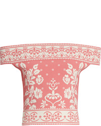 Alexander McQueen Floral Jacquard Off The Shoulder Knit Cropped Top