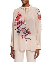 Pink Floral Long Sleeve Blouse