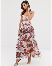 Forever U Organza Maxi Dress In Floral