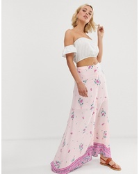 En Creme Floral And Border Print Maxi Skirt With Button Detail