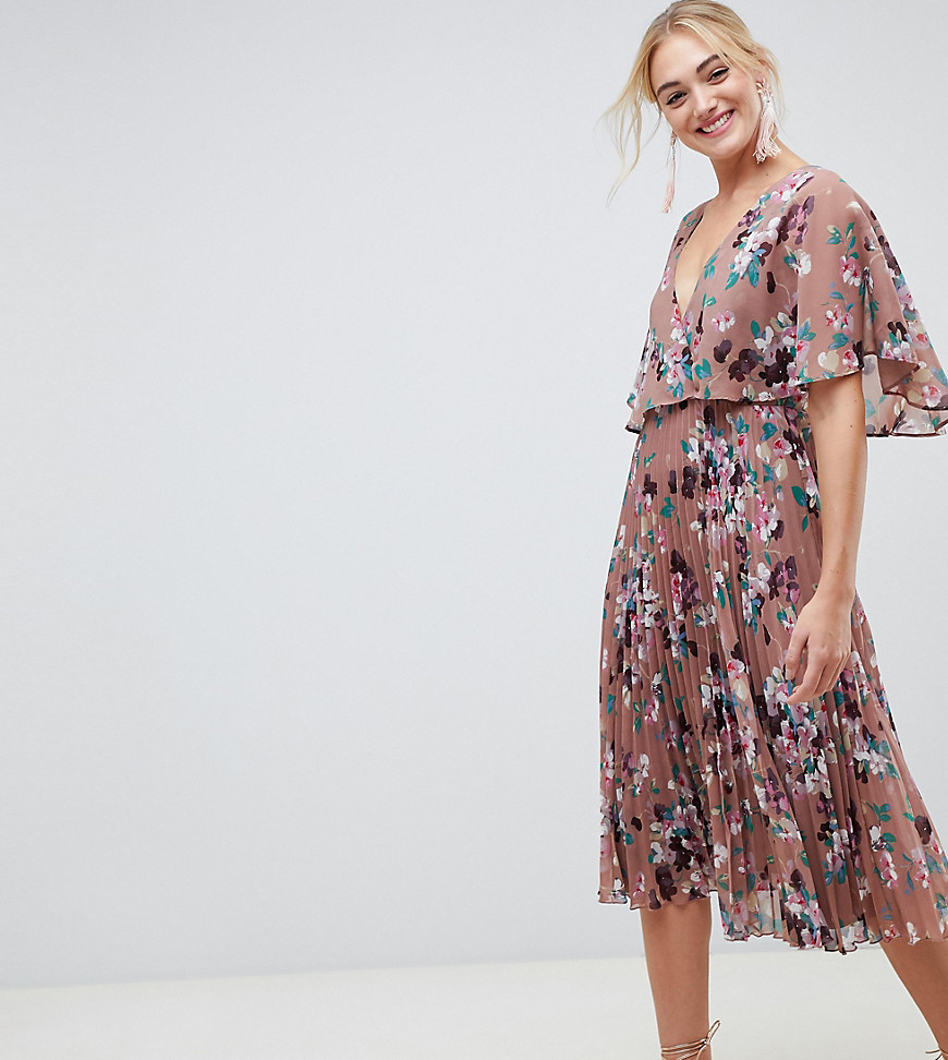 06abac505c688 ... Asos Tall Asos Design Tall Flutter Sleeve Midi Dress With Pleat Skirt  In Floral Print