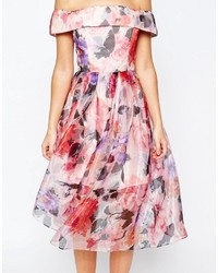 66dadd57a606 ... Asos Salon Floral Organza Off The Shoulder Bardot Midi Prom Dress ...