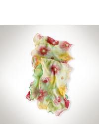Ralph Lauren Floral Polka Dot Silk Scarf