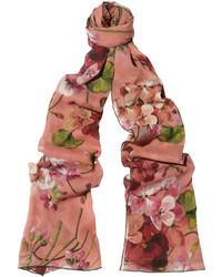 Gucci Floral Print Silk Georgette Scarf