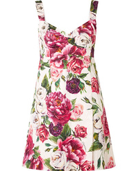 Dolce & Gabbana Floral Print Cotton Blend Cloqu Mini Dress