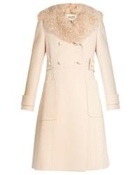 Miu Miu Double Breasted Wool And Sheepskin Coat