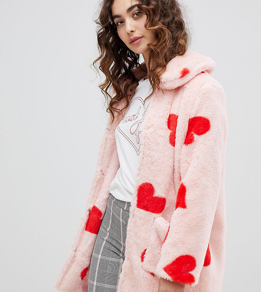 69bf601355 Coat With All Over Hearts In Faux Fur