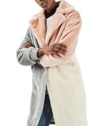 Topshop Patchwork Faux Fur Coat