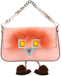 Fendi Micro Baguette Fur Embellished Cross Body Bag
