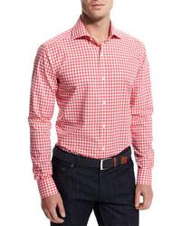 Goodmans gingham woven dress shirt pink medium 456366