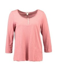 Esprit Solid Button Long Sleeved Top Dark Old Pink