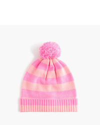 J.Crew Girls Cashmere Striped Beanie With Pom Pom