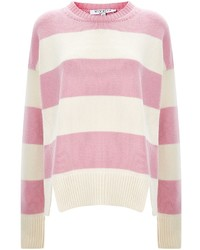 Pink Horizontal Striped Crew-neck Sweater