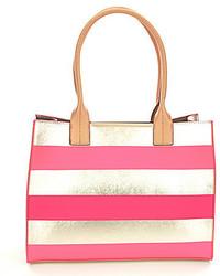 Pink Horizontal Striped Tote Bag