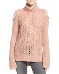 Cold shoulder cable knit sweater medium 834651
