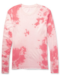The Elder Statesman Tie Dyed Knitted Cashmere And Silk Blend T Shirt