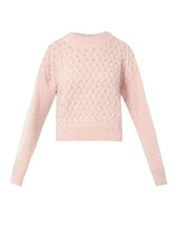 Basket knit cropped sweater medium 129211