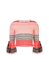 Derek Lam 10 Crosby Smocked Bell Sleeve Cropped Blouse