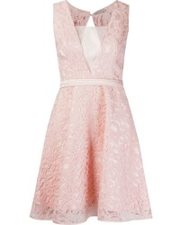 Pink Lace Fit and Flare Dress